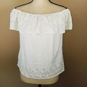 Lucky Brand Off the Shoulder Eyelet Shirt